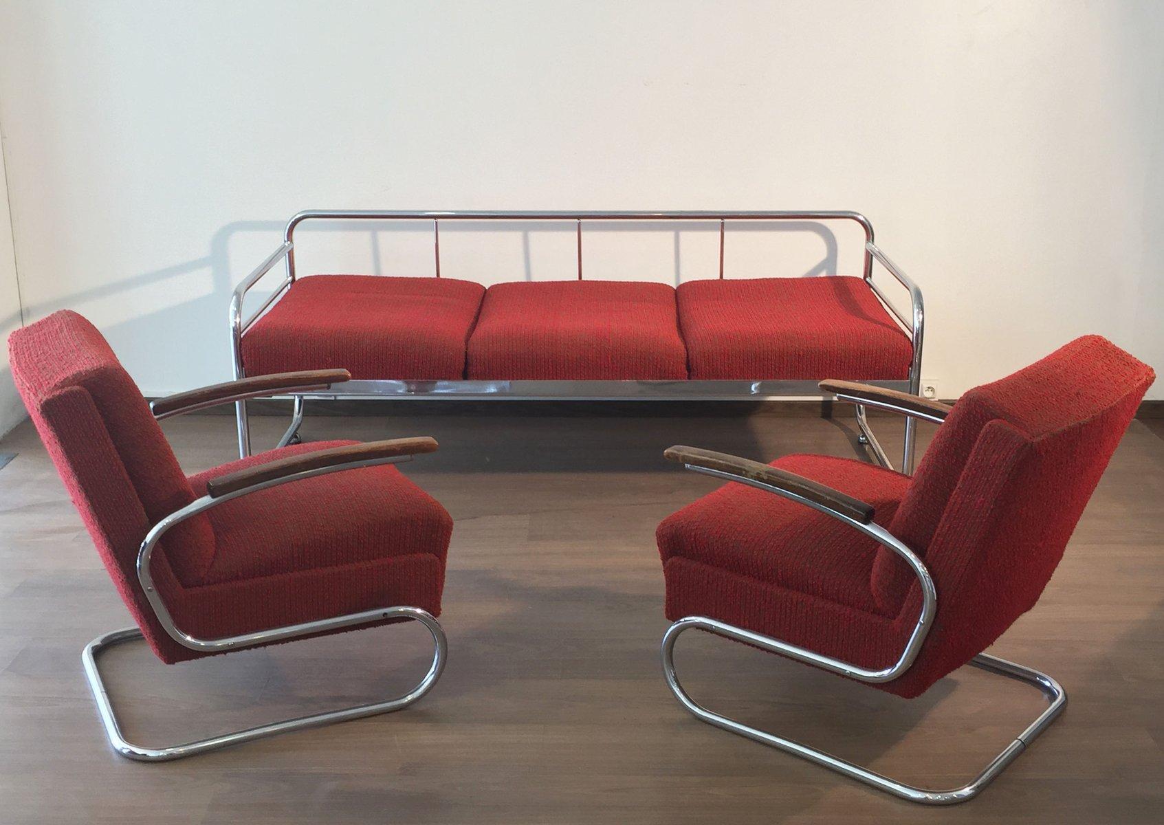 Czech Tubular Modernist Bauhaus Sofa From Slezak Zavody 1930s For