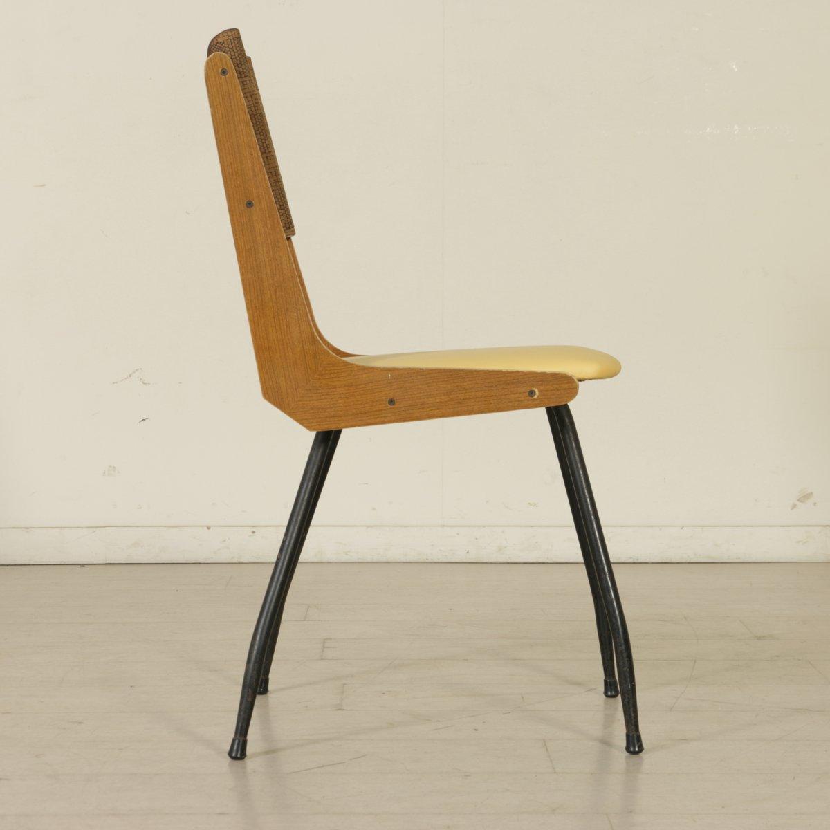 italienische vintage eichenholz st hle mit bezug 5er set. Black Bedroom Furniture Sets. Home Design Ideas