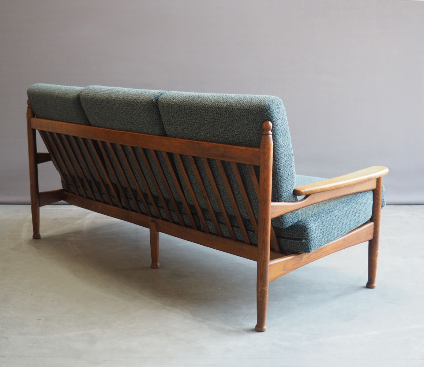 Vintage wooden danish sofa with loose cushions 1950s for for Vintage sectional sofa craigslist