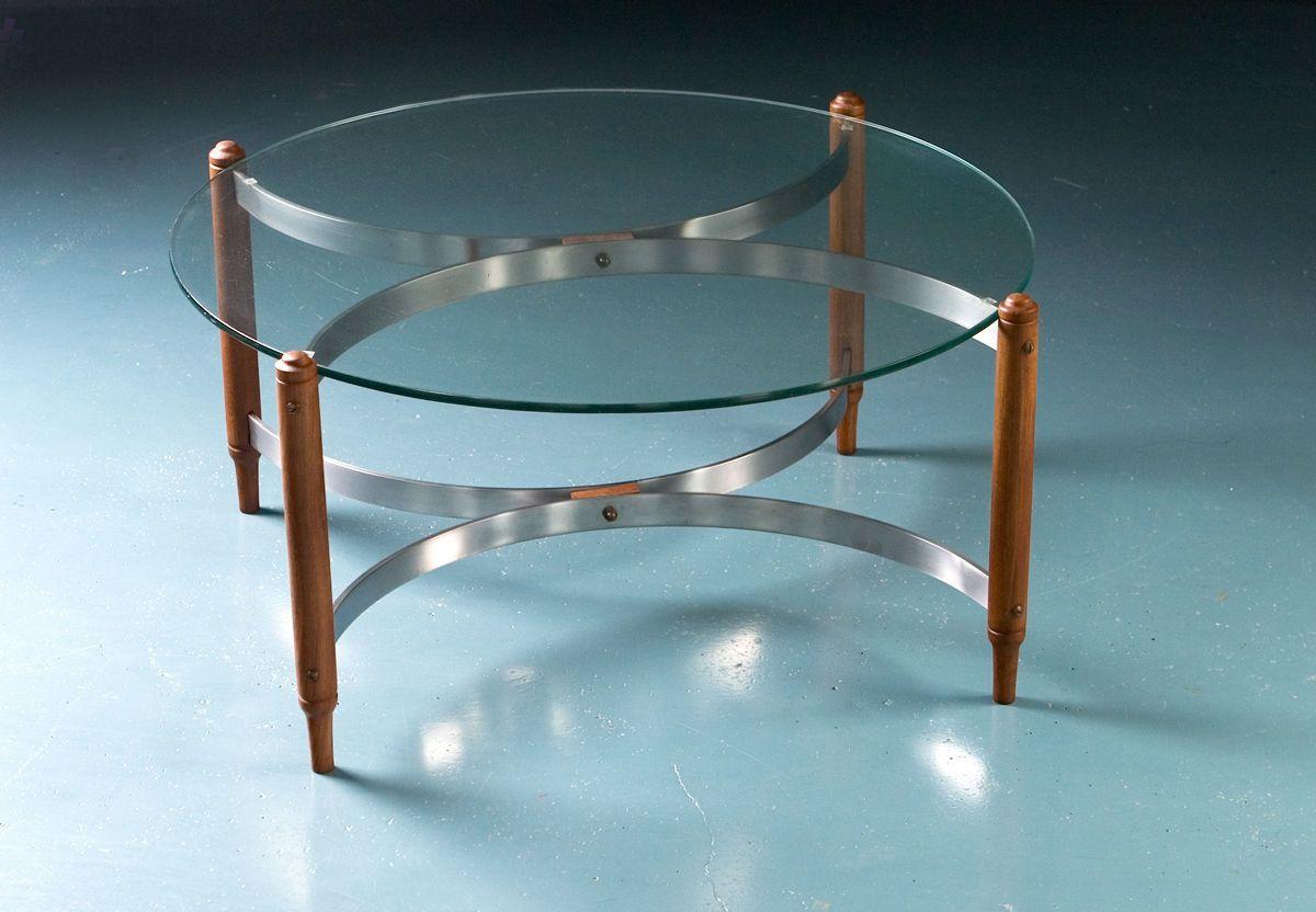 mid century teak stahl und glas couchtisch bei pamono kaufen. Black Bedroom Furniture Sets. Home Design Ideas