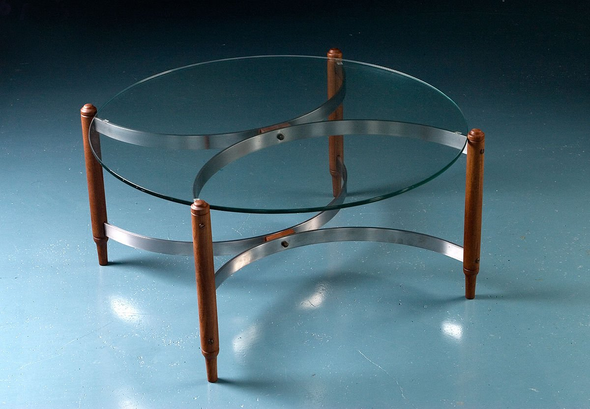 Mid century teak steel and glass coffee table for sale at pamono Steel and glass coffee table