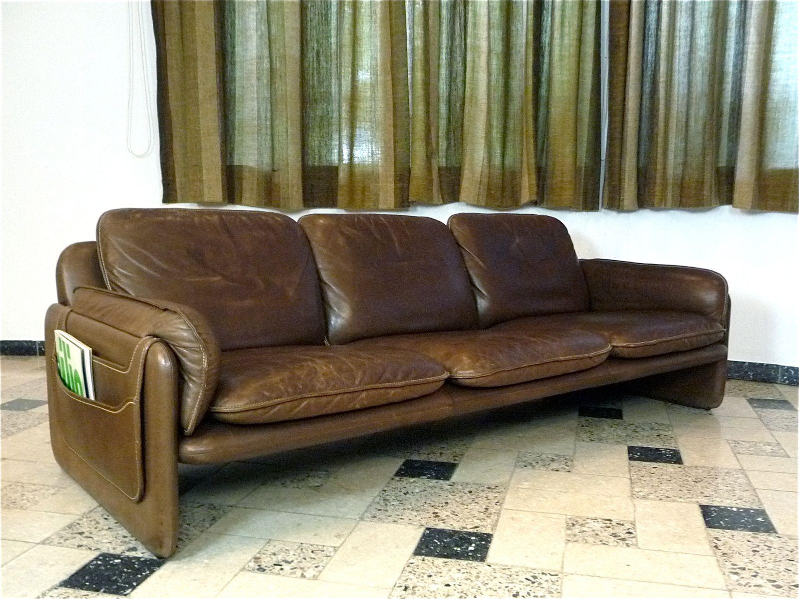 schweizer ds61 drei sitzer ledersofa von de sede 1960er bei pamono kaufen. Black Bedroom Furniture Sets. Home Design Ideas