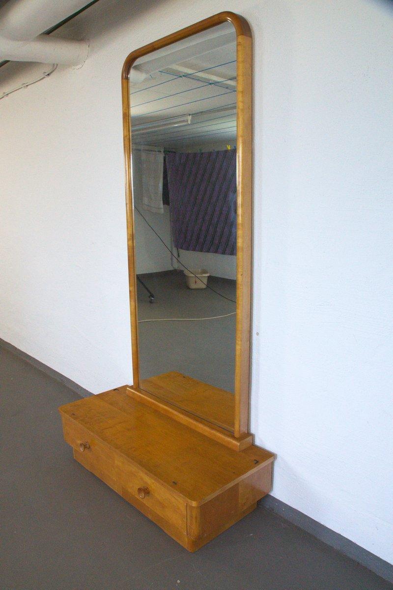 Lowboard aus esche mit spiegel und zwei schubladen 1950er for Spiegel laden berlin
