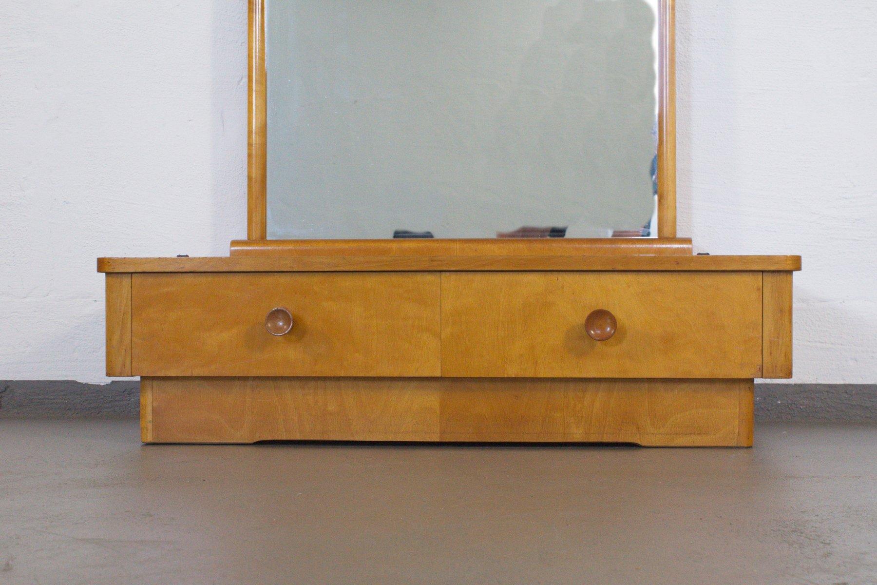 lowboard aus esche mit spiegel und zwei schubladen 1950er bei pamono kaufen. Black Bedroom Furniture Sets. Home Design Ideas