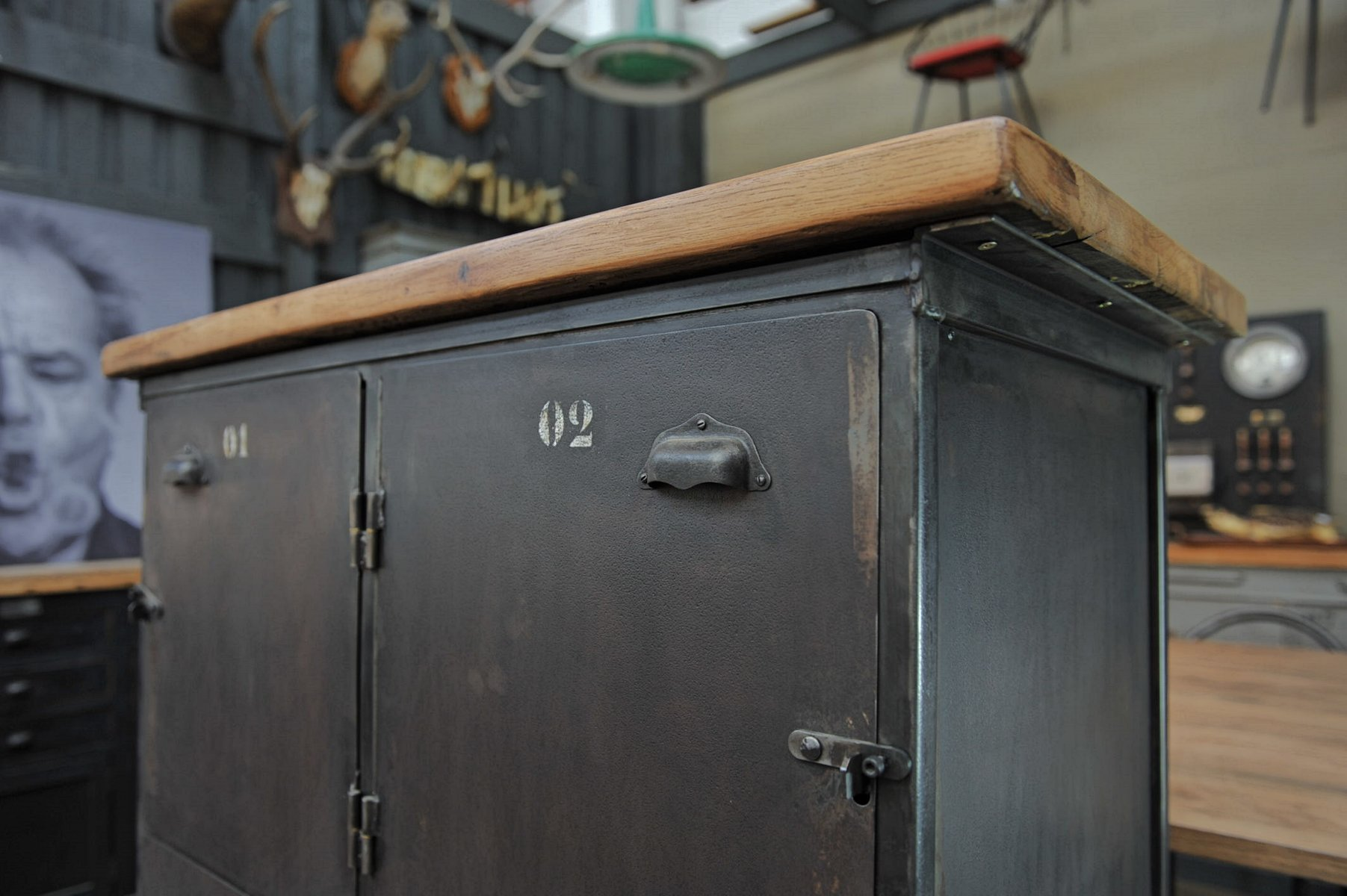 Industrial Four-Door Cabinet with Oak Top, 1950s for sale at Pamono