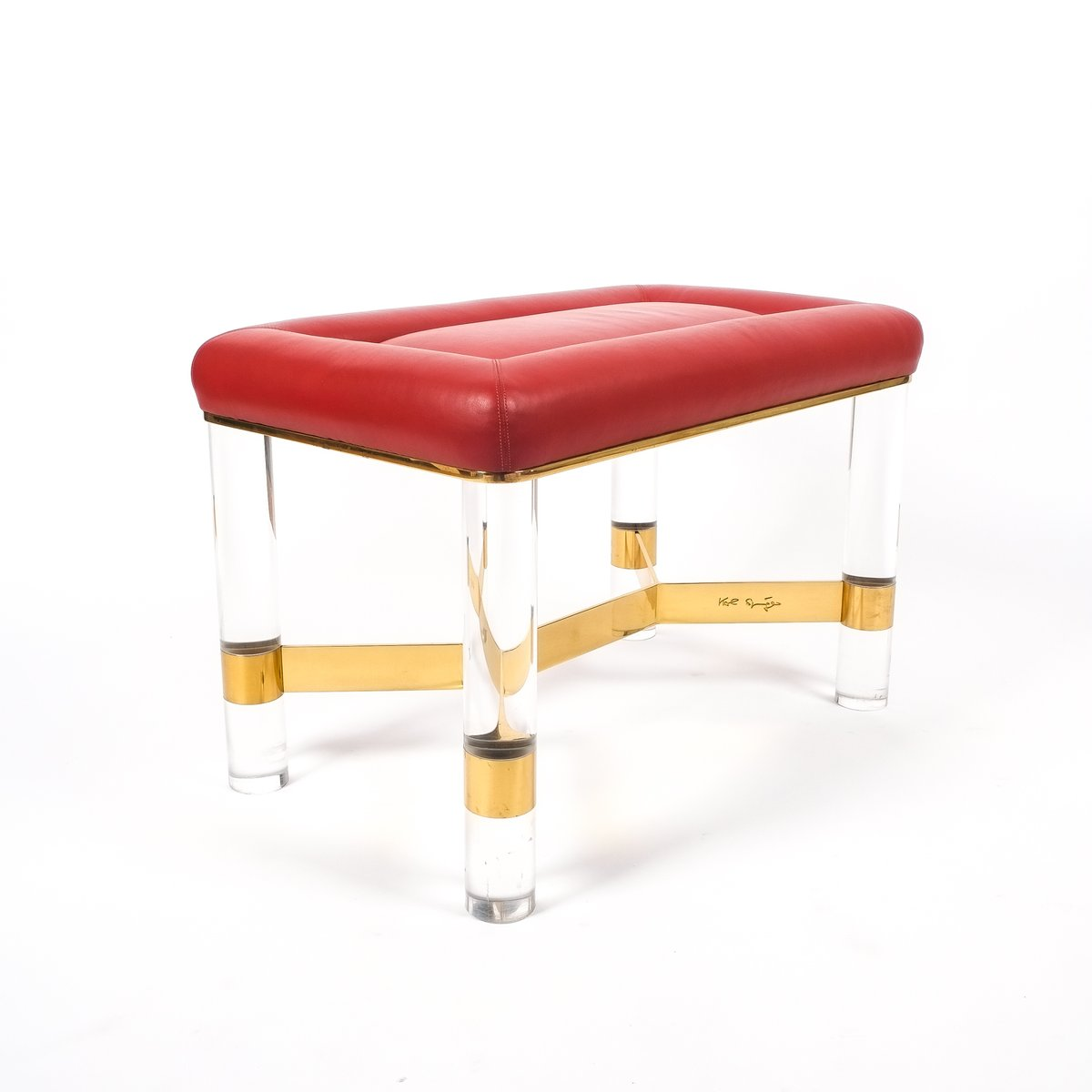 Leather Brass Lucite Bench By Karl Springer 1970 For