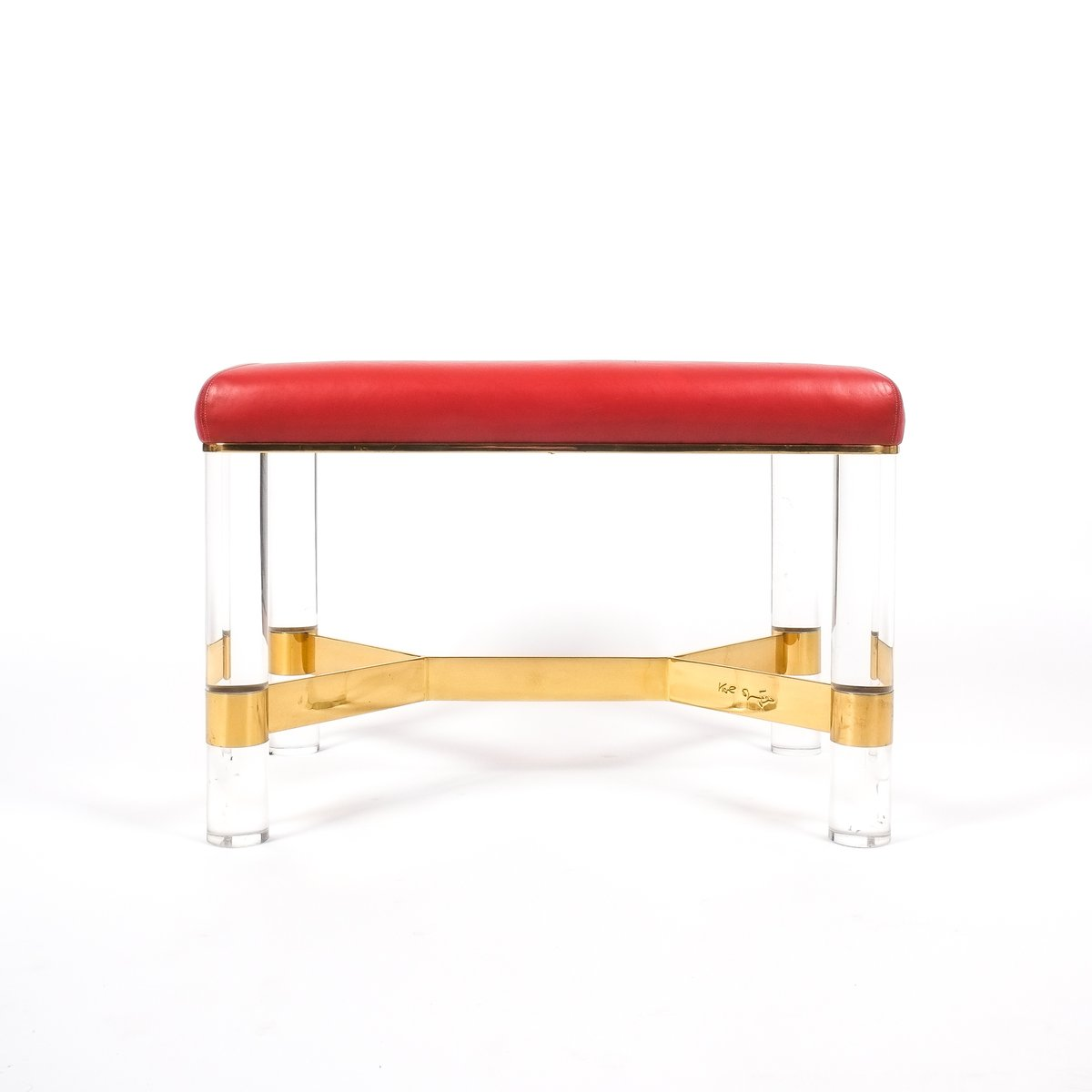 leather brass  lucite bench by karl springer  for sale at  - price per piece