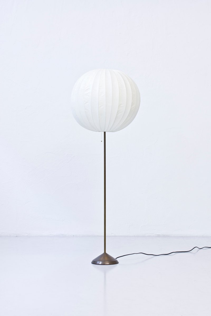 Swedish Floor Lamp With Paper Shade, 1950s