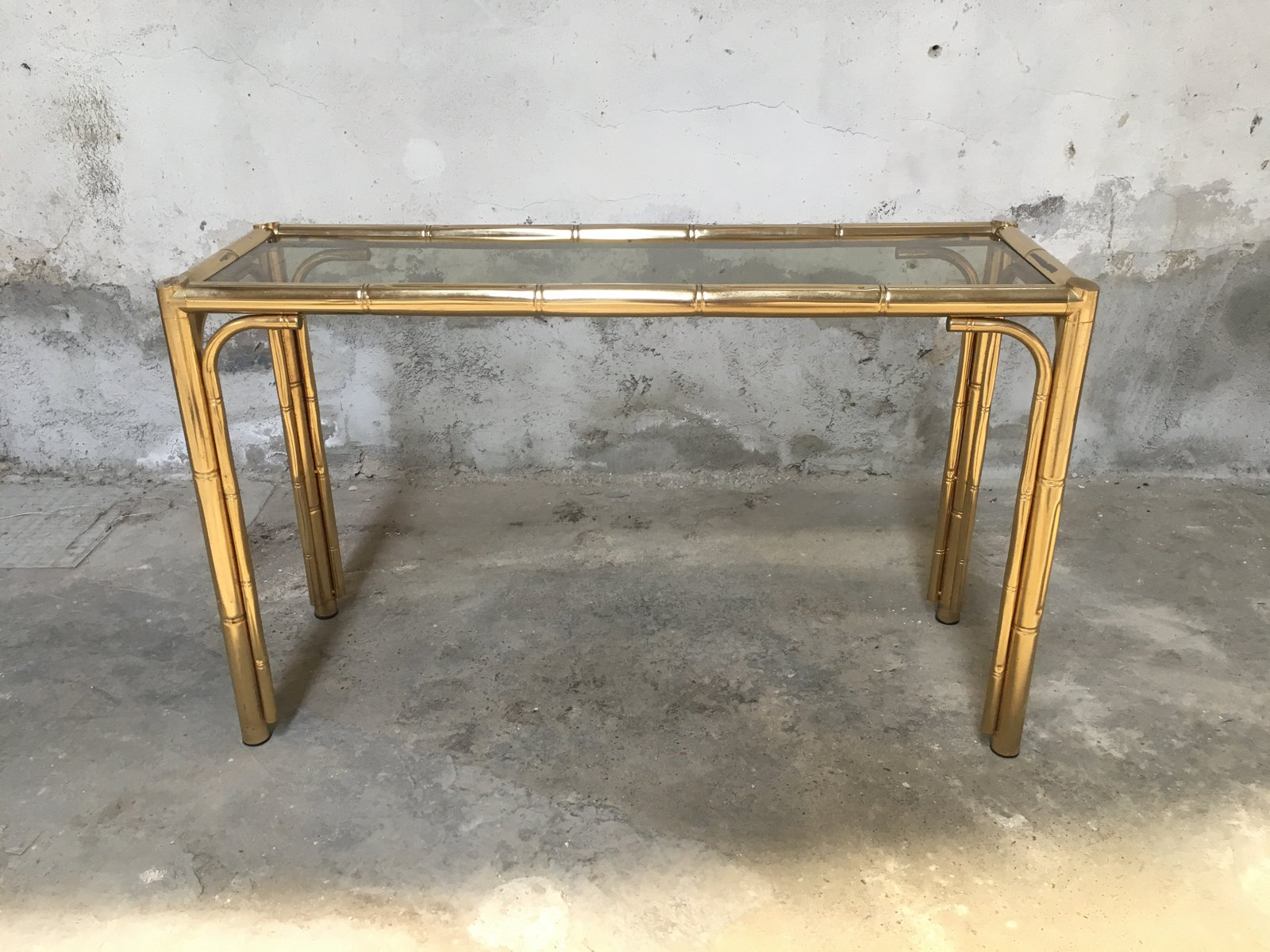 Faux Bamboo and Glass Console Table 1970s for sale at Pamono