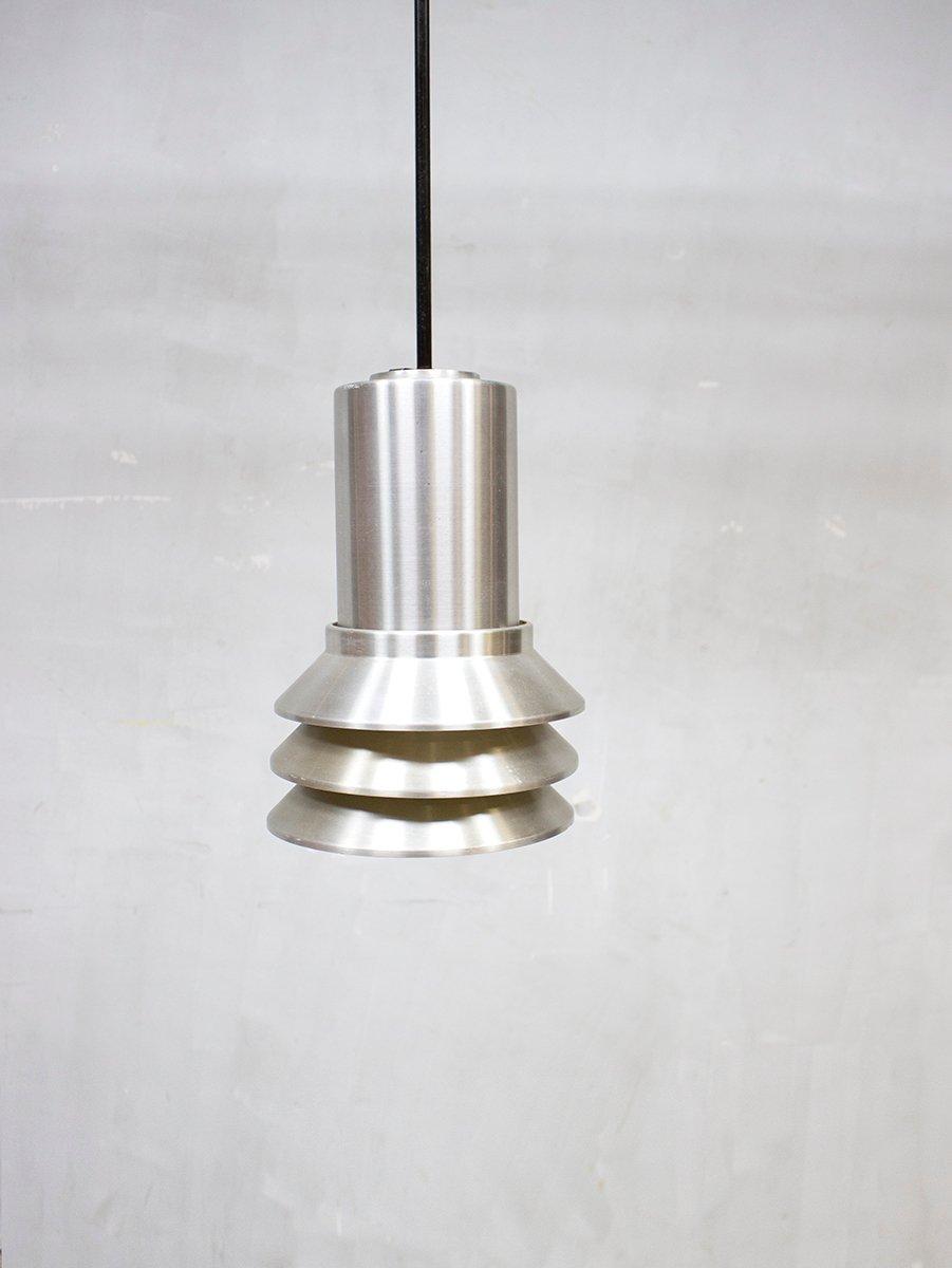 Mid century modern aluminum pendant light from hans agne for Mid century modern hanging lamp