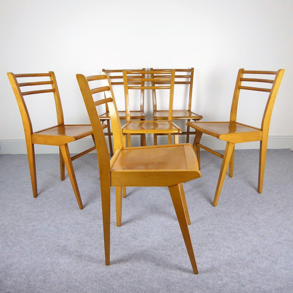 buchenholz esszimmerst hle von luterma 1950er 6er set. Black Bedroom Furniture Sets. Home Design Ideas