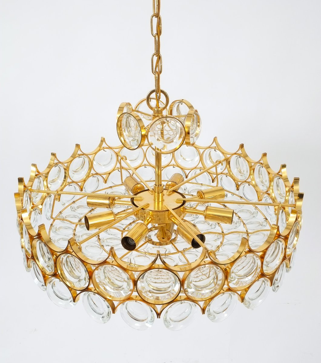 Vintage gilt brass and glass chandelier from palwa for sale at pamono price per piece mozeypictures Images