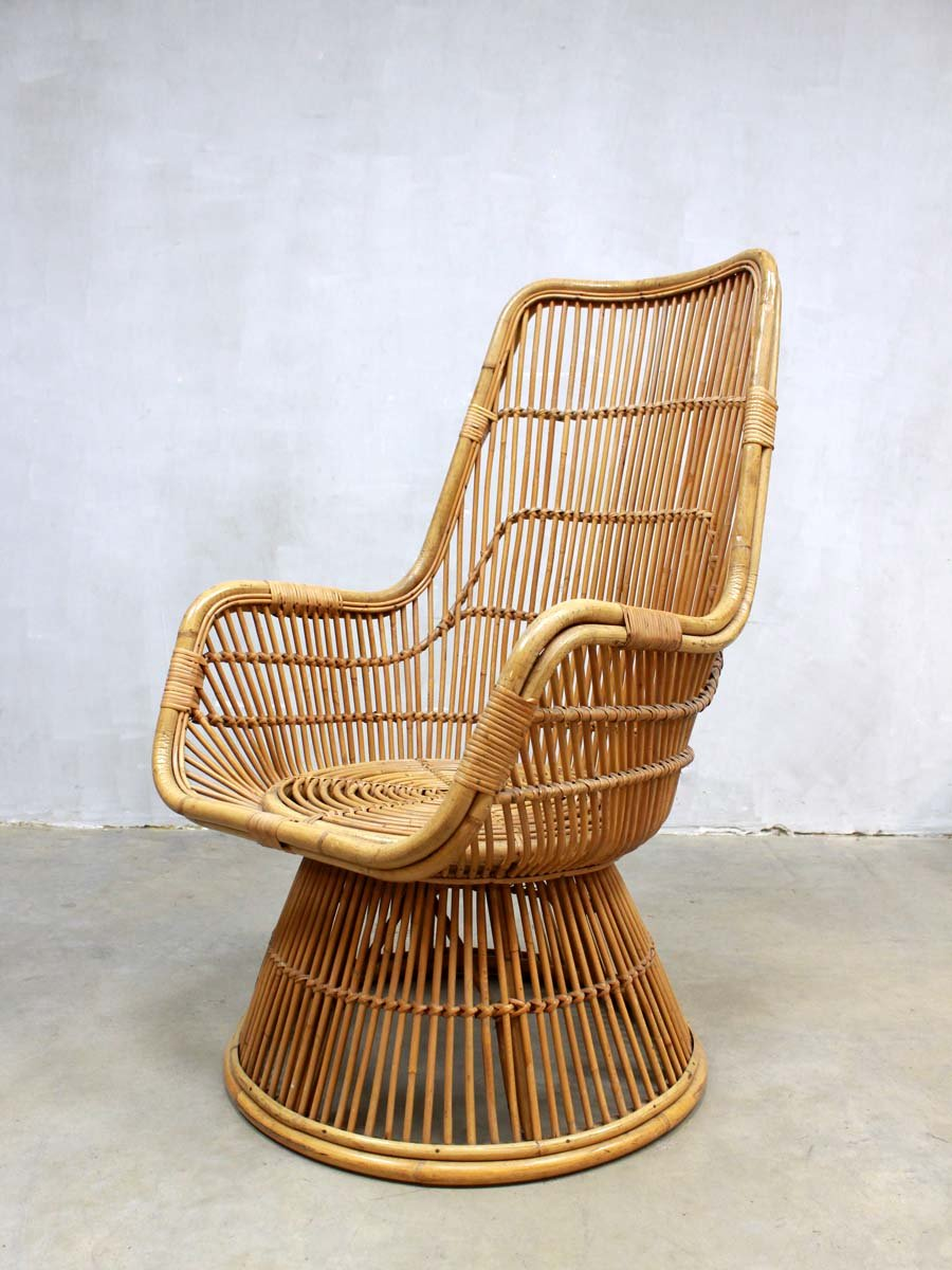 Rattan lounge  Mid-Century Peacock Rattan Lounge Chair for sale at Pamono