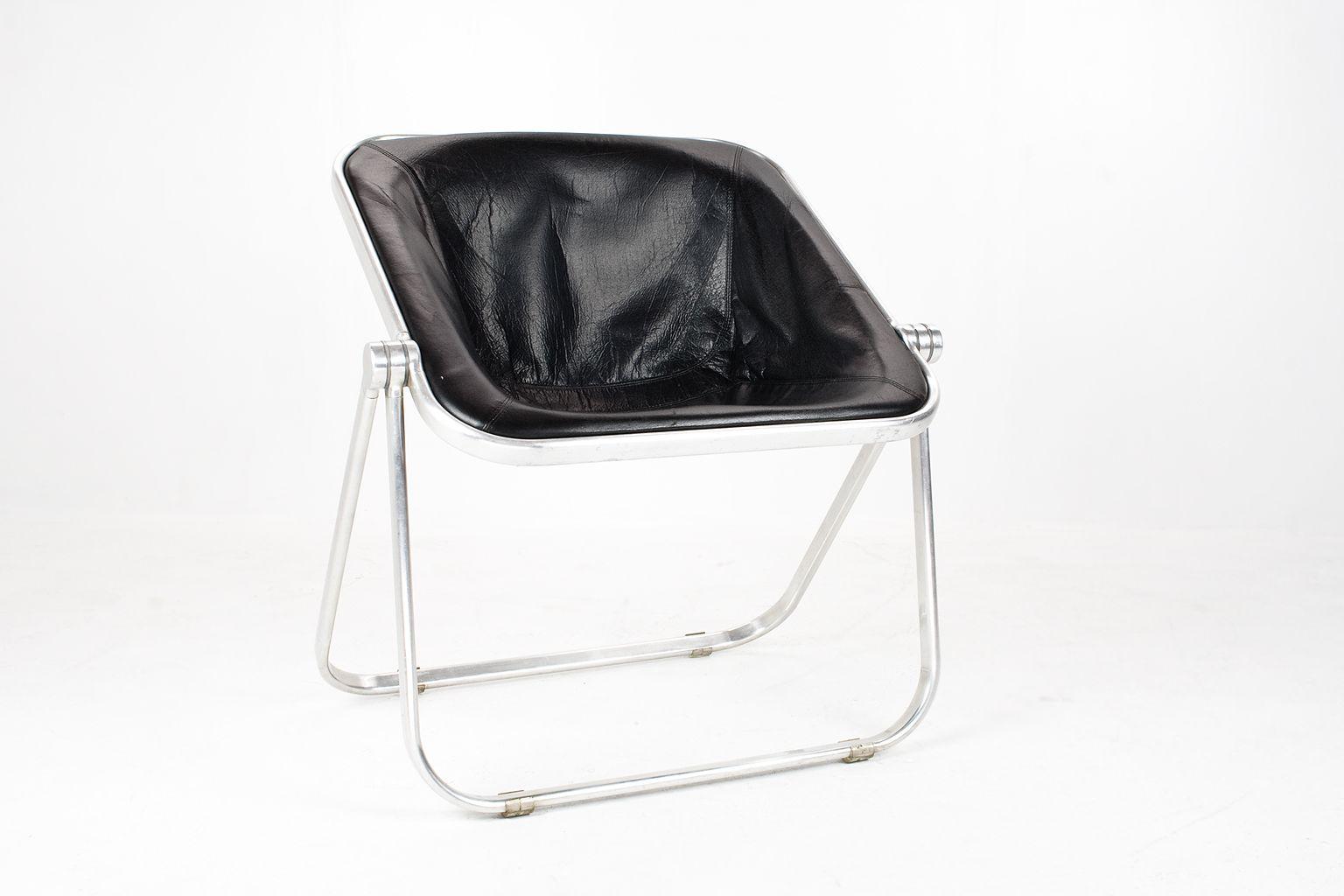 schwarzer vintage plona stuhl aus leder von giancarlo piretti f r castelli bei pamono kaufen. Black Bedroom Furniture Sets. Home Design Ideas