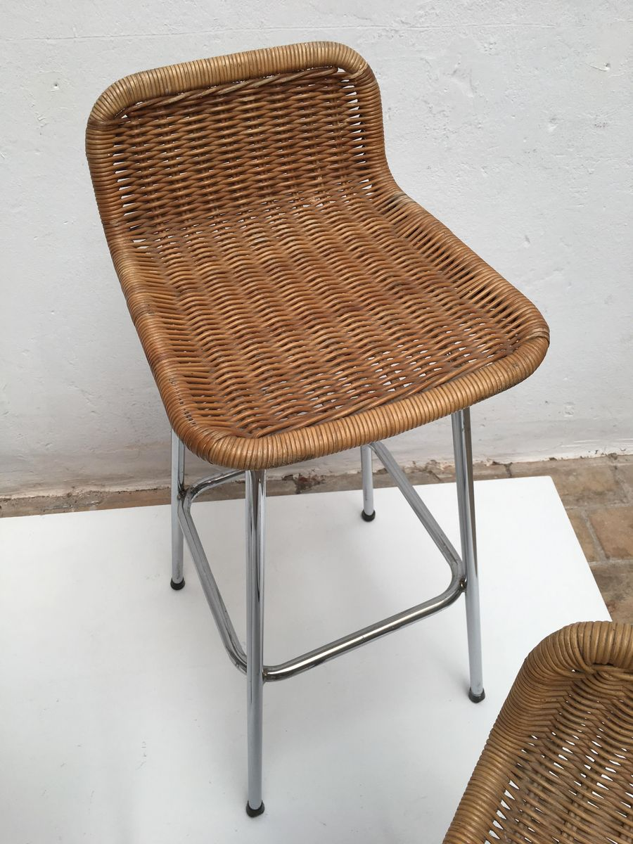 rattan bar stools by dirk van sliedregt for gebroeders. Black Bedroom Furniture Sets. Home Design Ideas