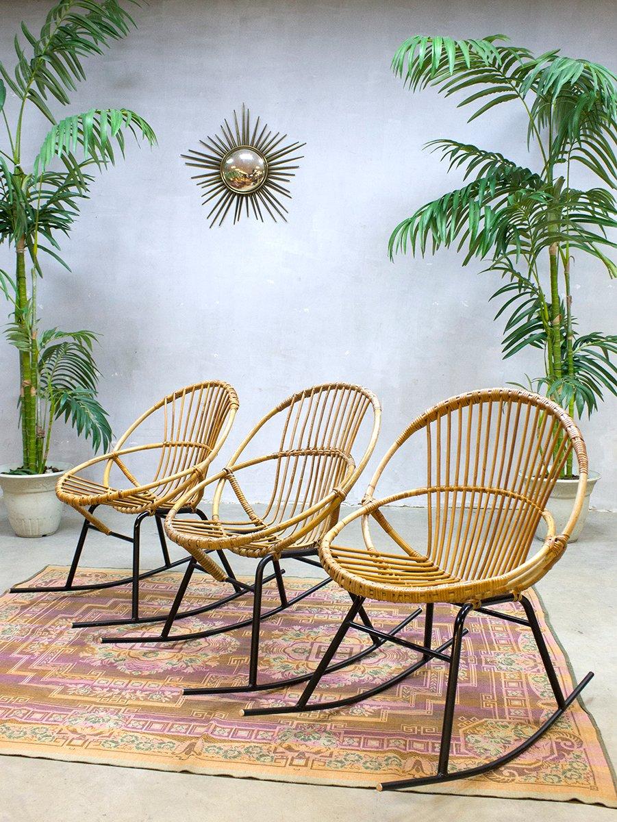 Vintage rattan rocking chair - Price Per Set