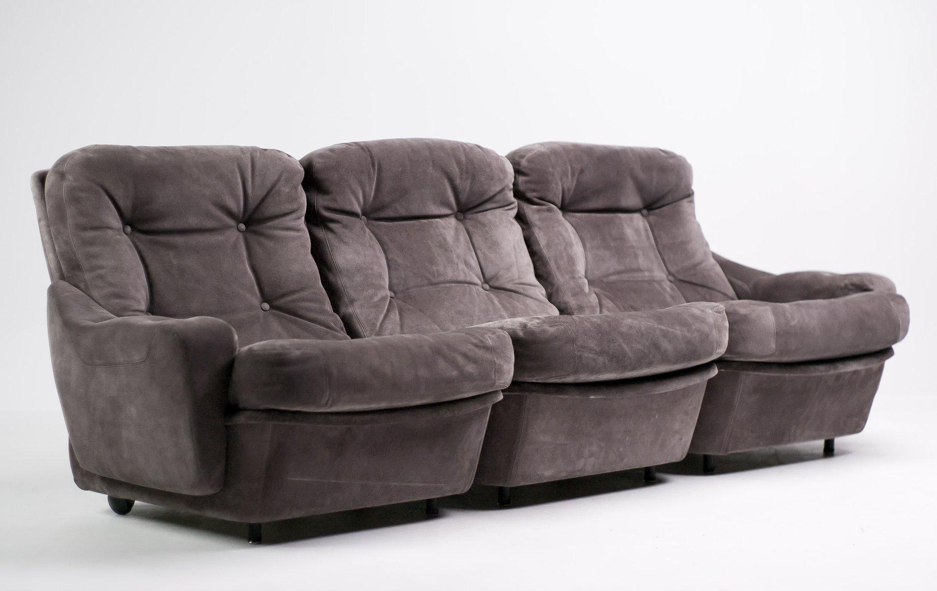 Modulare vintage drei sitzer sofas in wildleder von for Sofa wildleder