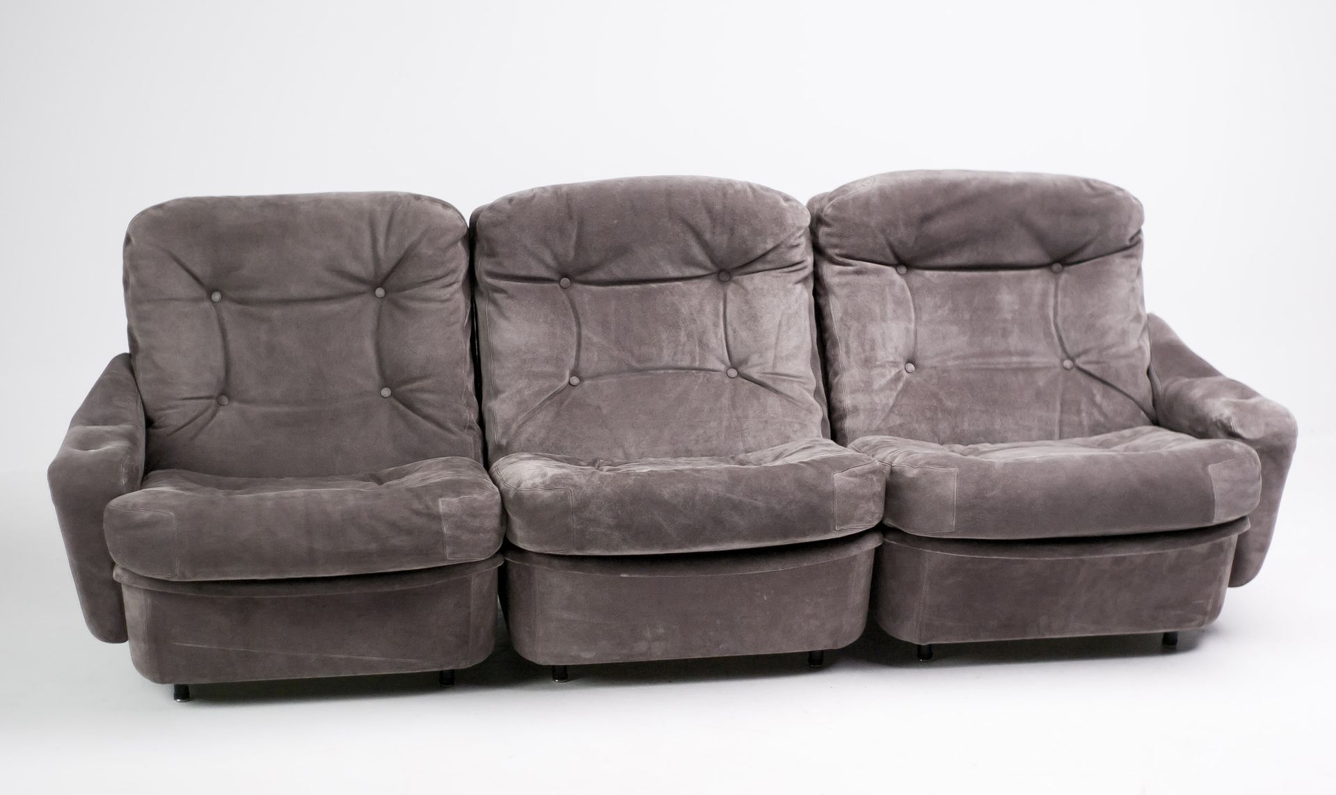 Vintage Three Seater Modular Sofas in Suede from Airborne Set of