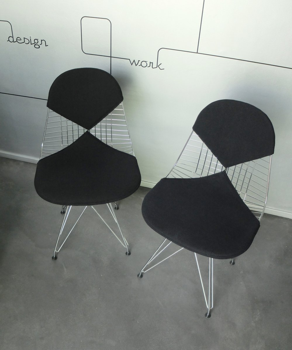 Chair wire chairs missing cover - Vintage Dkr 2 Wire Chairs With Bikini Covers By Charles Ray Eames For Vitra Set Of 2