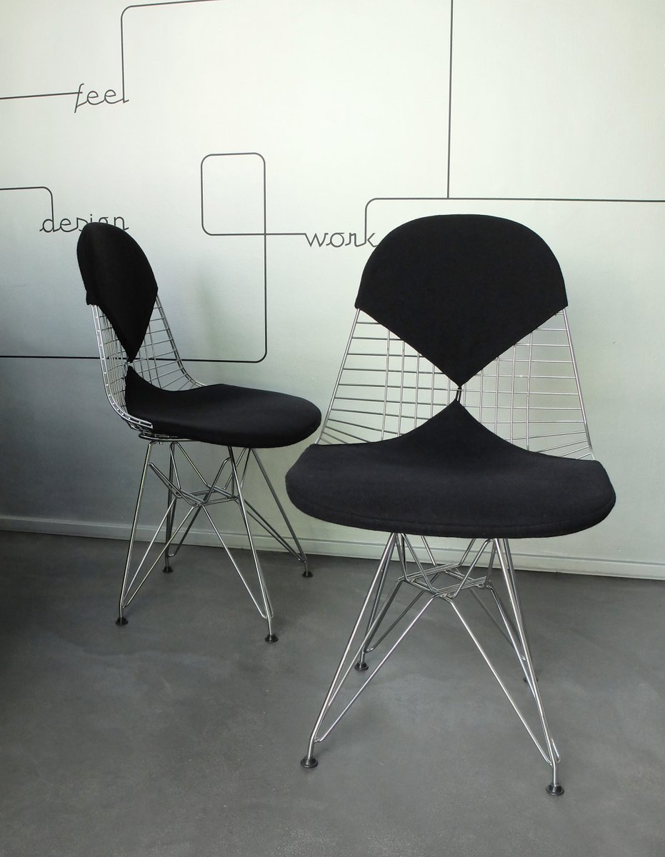 vintage dkr 2 wire chairs with bikini covers by charles ray eames for vitra set of 2 for sale. Black Bedroom Furniture Sets. Home Design Ideas