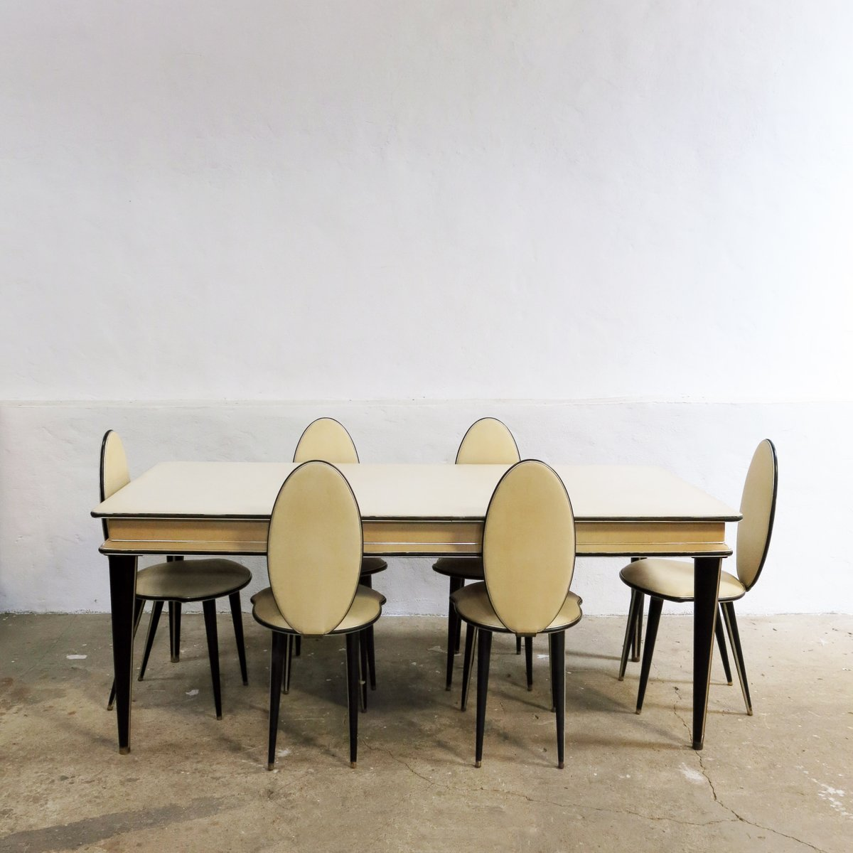 Captivating Mid Century Dining Set By Umberto Mascagni For Harrods, 1950s, Set Of 7