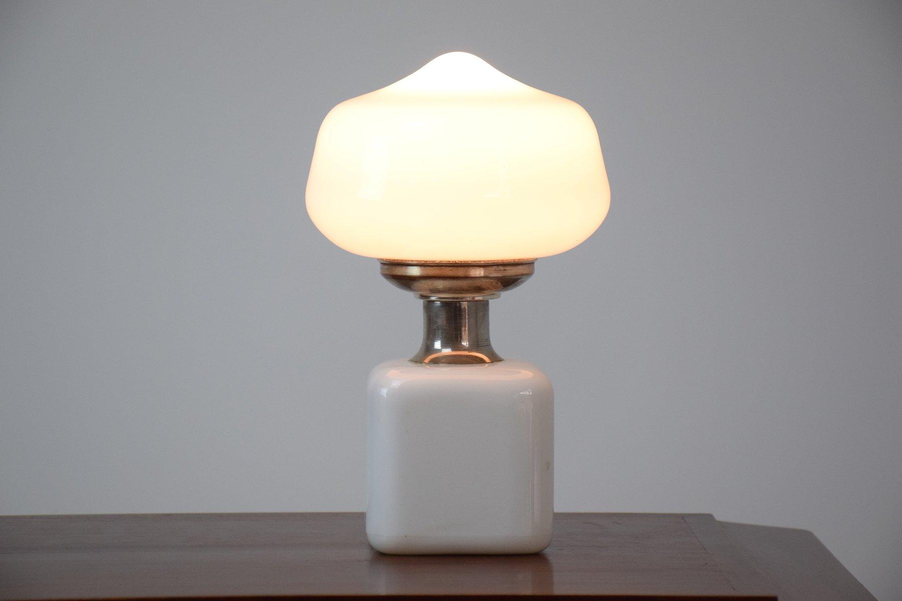 Mid century white glass mushroom table lamp 1970s for for Z gallerie century table lamp
