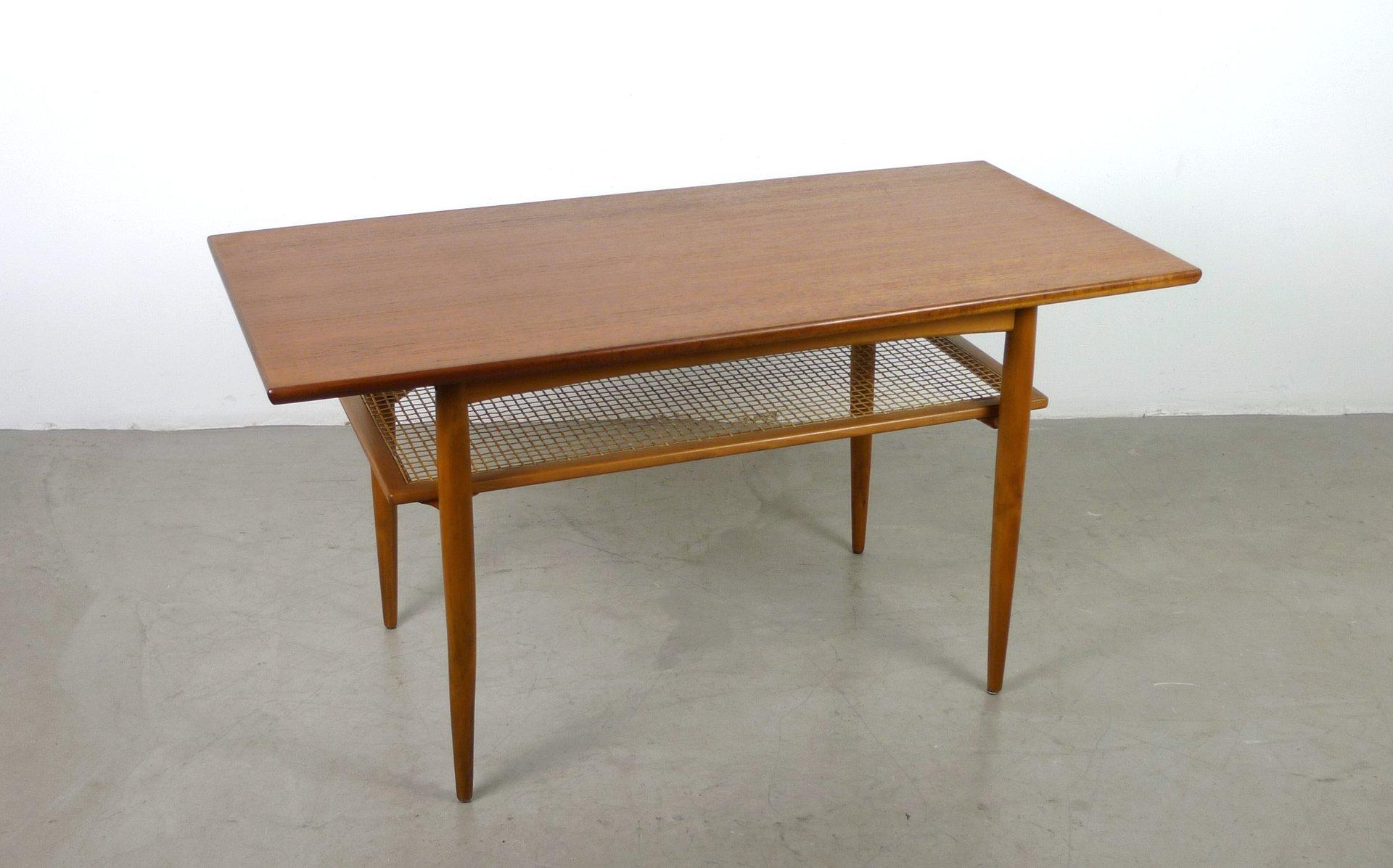 teak couchtisch mit ablage von knoll 1950er bei pamono kaufen. Black Bedroom Furniture Sets. Home Design Ideas