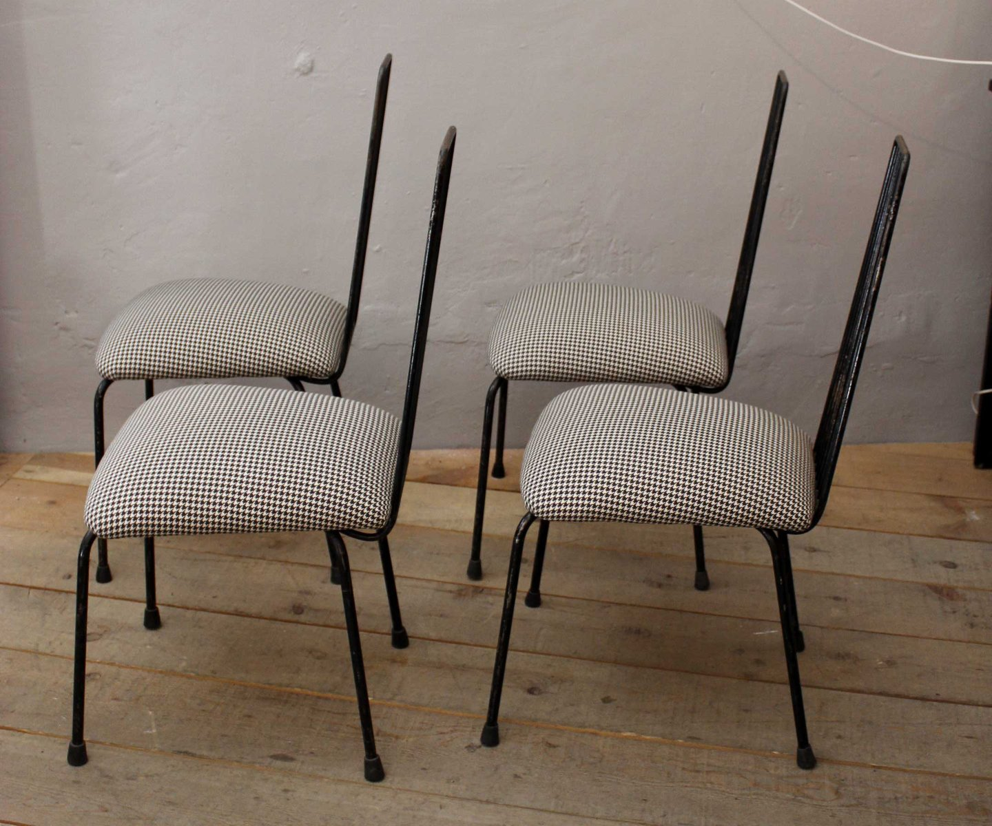 mid century french side chairs 1950s set of 4 for sale at pamono. Black Bedroom Furniture Sets. Home Design Ideas