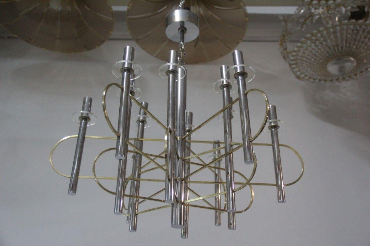 skulpturaler kronleuchter aus metall glas von gaetano. Black Bedroom Furniture Sets. Home Design Ideas
