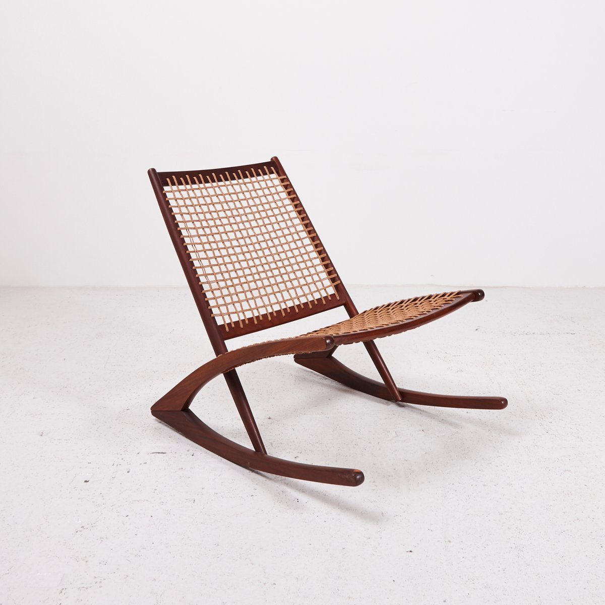 Vintage rattan rocking chair - Vintage Teak Rocking Chair With Paper Cord