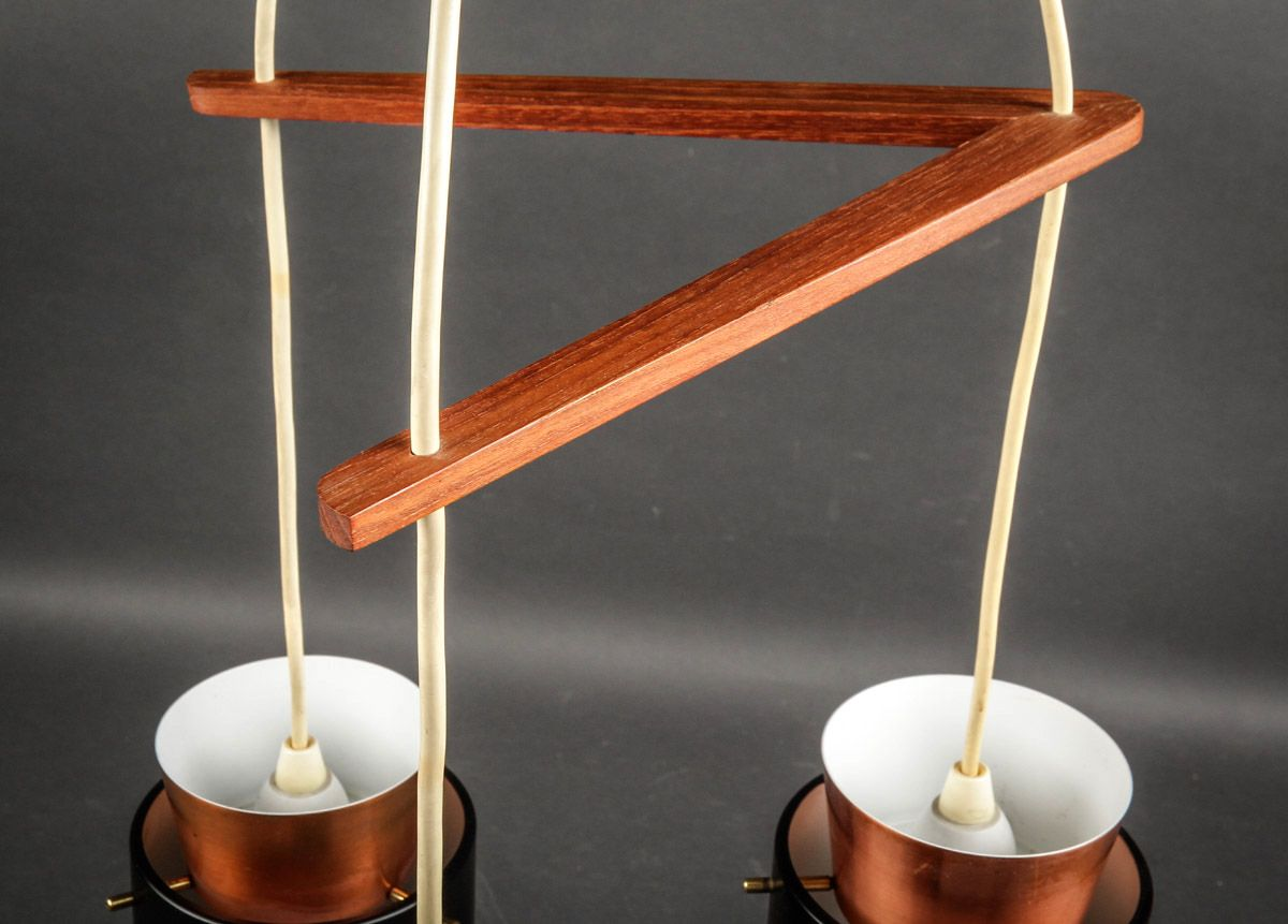 Mid century danish copper ceiling light by jo hammerborg for Mid century ceiling lamp
