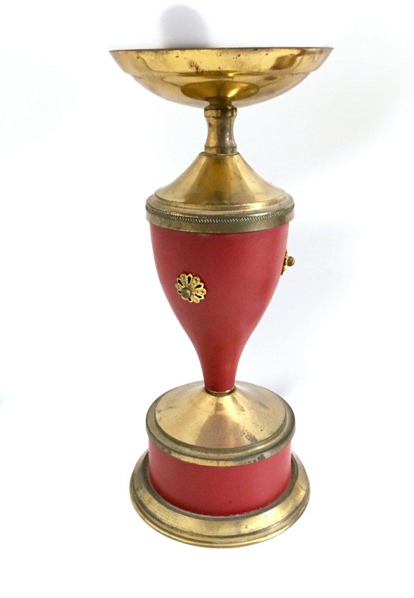 Lampade da tavolo Mid-Century in ottone e vetro opalino, anni '50, set di 2 in vendita su Pamono