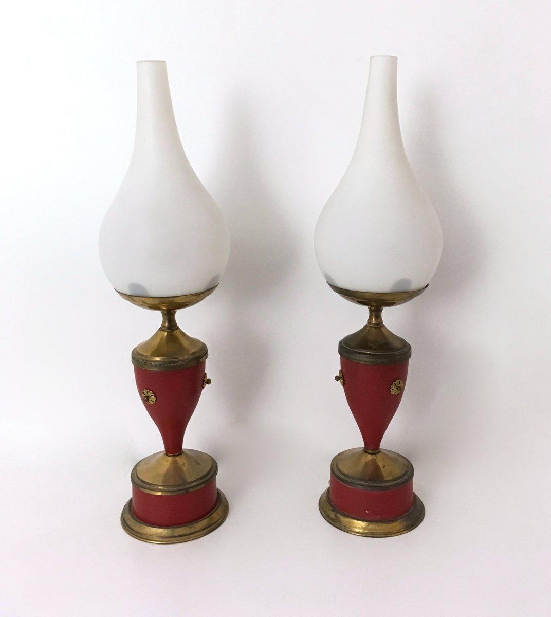 Lampade da tavolo mid century in ottone e vetro opalino - Lampade da tavolo anni 50 ...