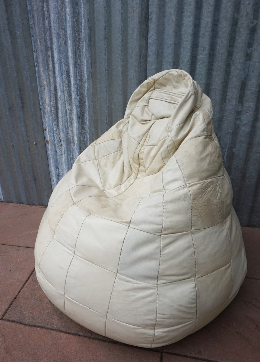 white leather patched bean bag 1970s for sale at pamono. Black Bedroom Furniture Sets. Home Design Ideas
