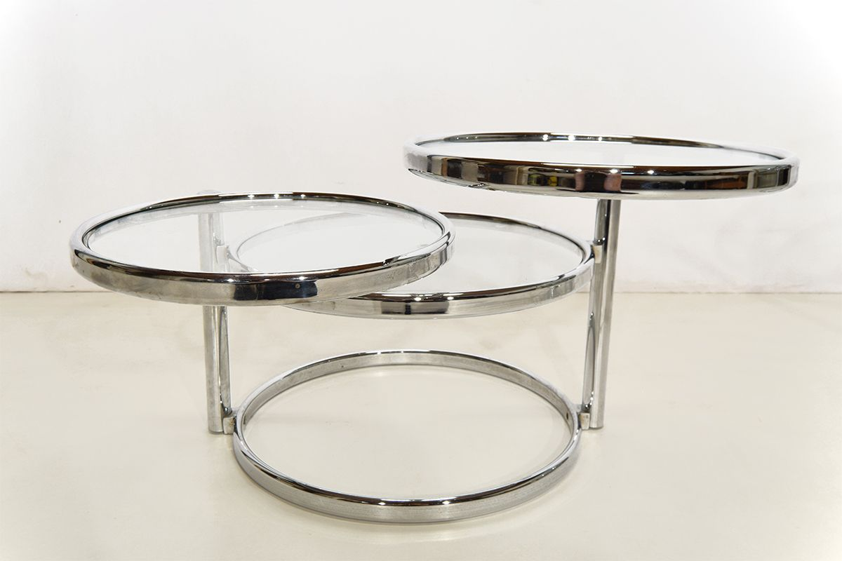 Chrome And Glass Round Coffee Tables Set Of 2 For Sale At Pamono