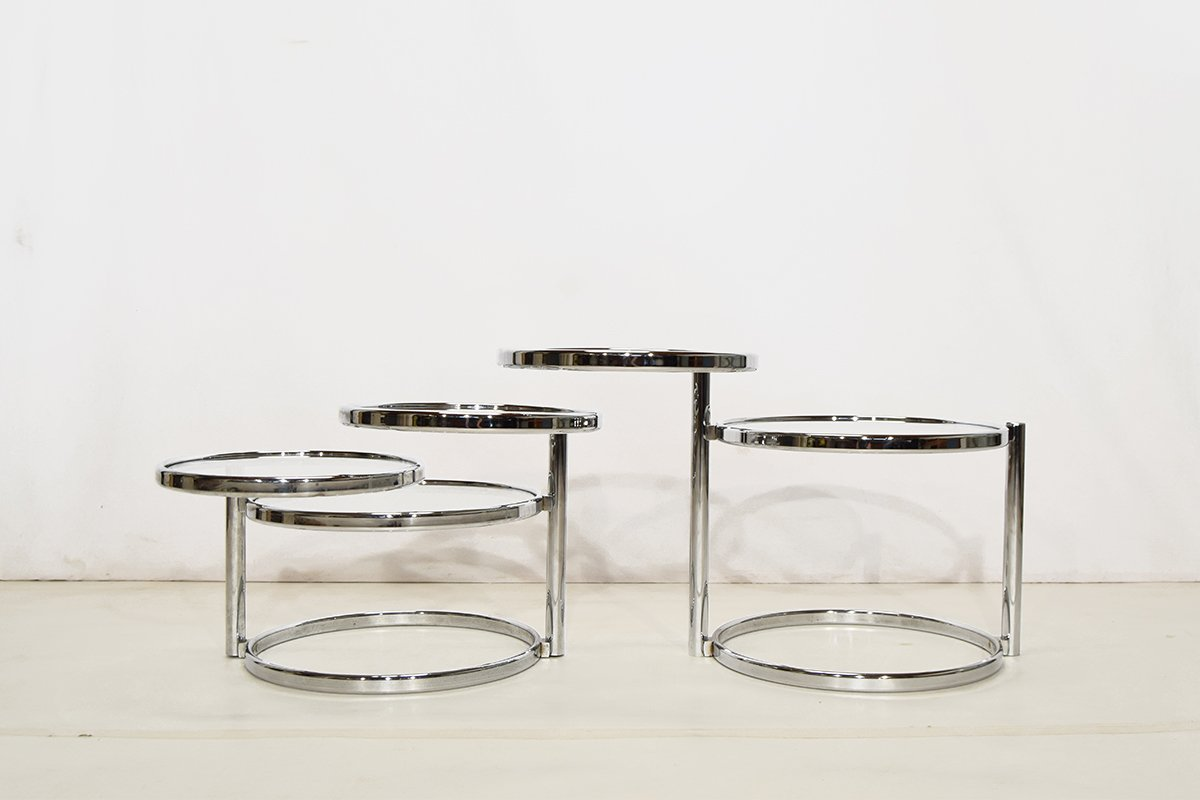 chrome and glass round coffee tables set of 2 1