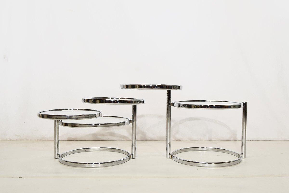 runde chrom glas couchtische 2er set bei pamono kaufen. Black Bedroom Furniture Sets. Home Design Ideas