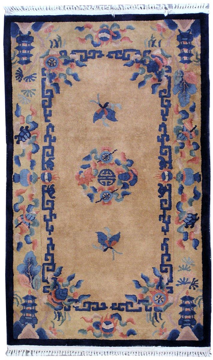 chinesischer handgekn pfter vintage art deco teppich. Black Bedroom Furniture Sets. Home Design Ideas