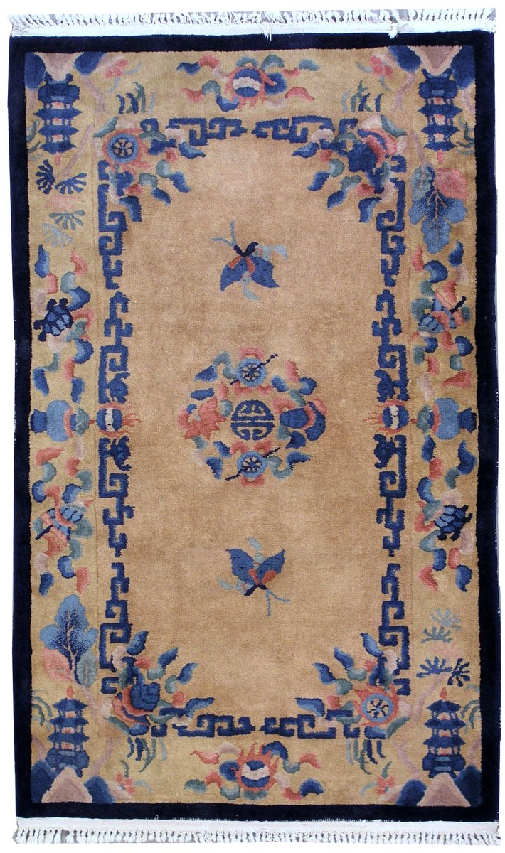 Vintage Chinese Art Deco Handmade Rug 1930s For Sale At