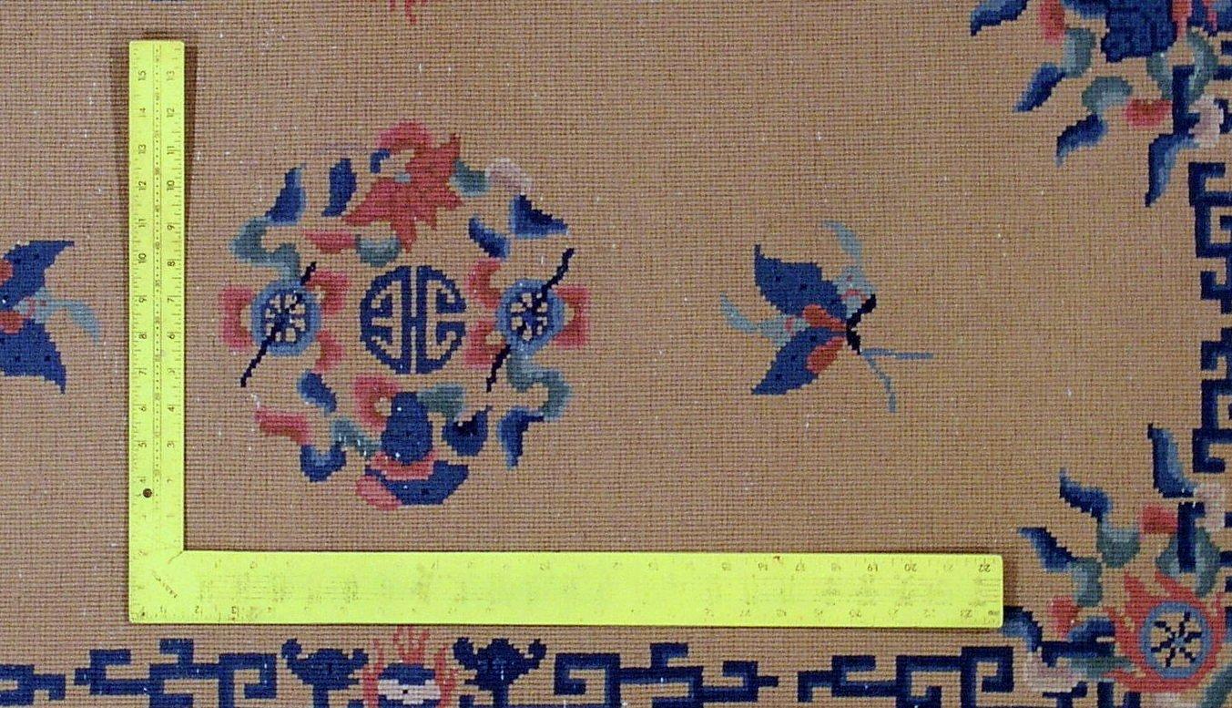 Chinesischer Handgeknüpfter Vintage Art Deco Teppich