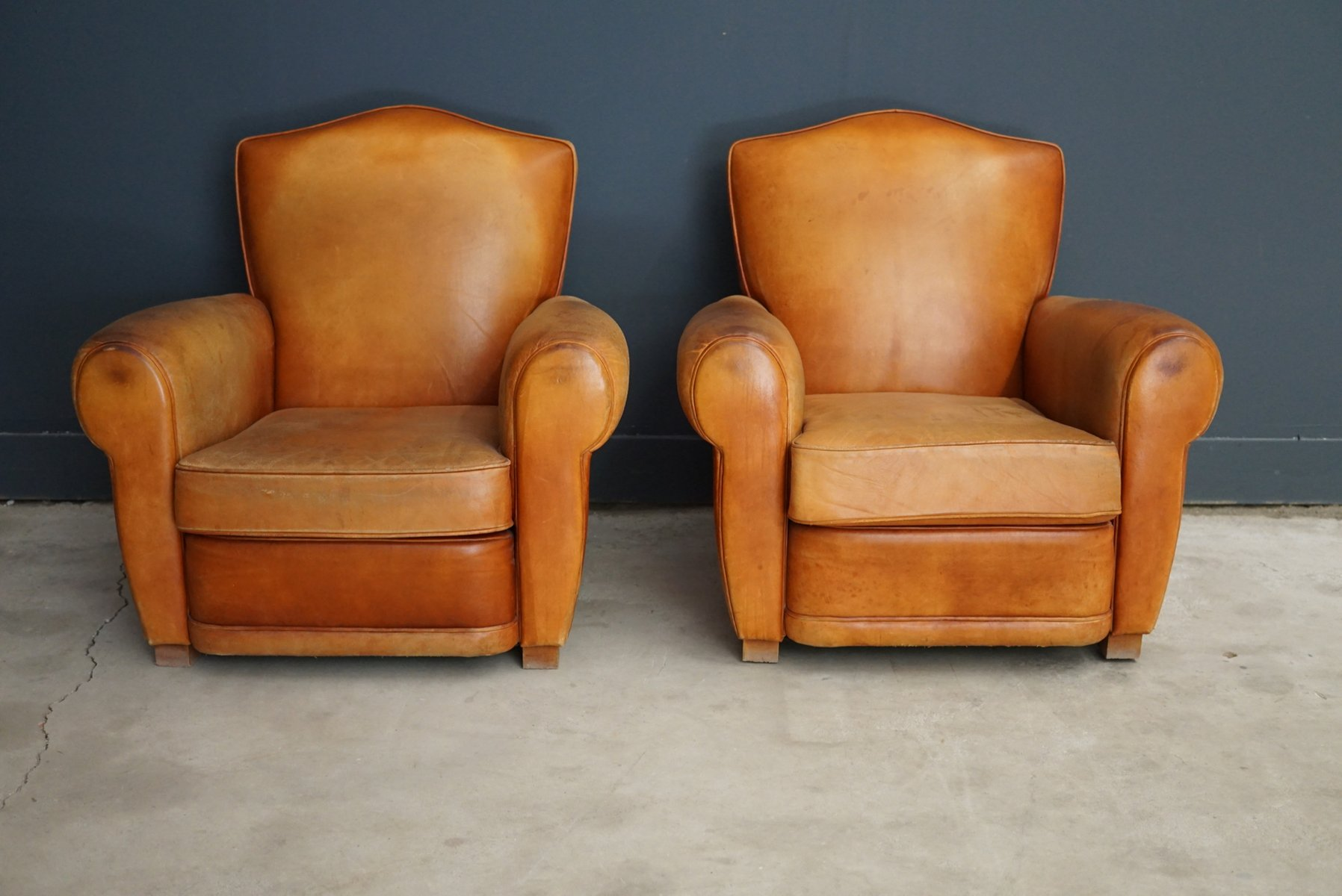 Vintage French Leather Club Chairs 1950s Set of 2 for sale at Pamono