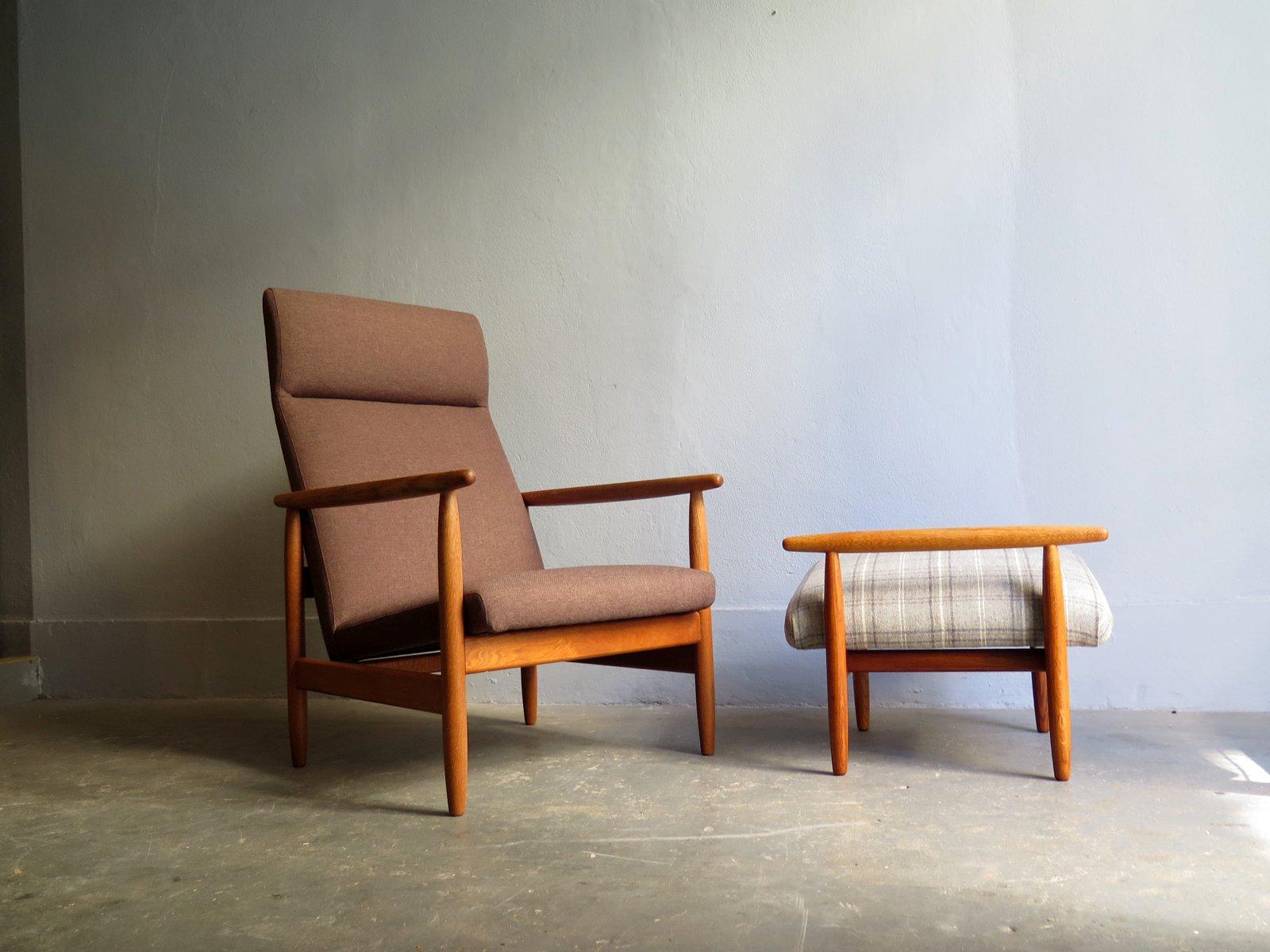 Vintage eichenholz stuhl hocker von ejvind johansson f r for Stuhl hocker