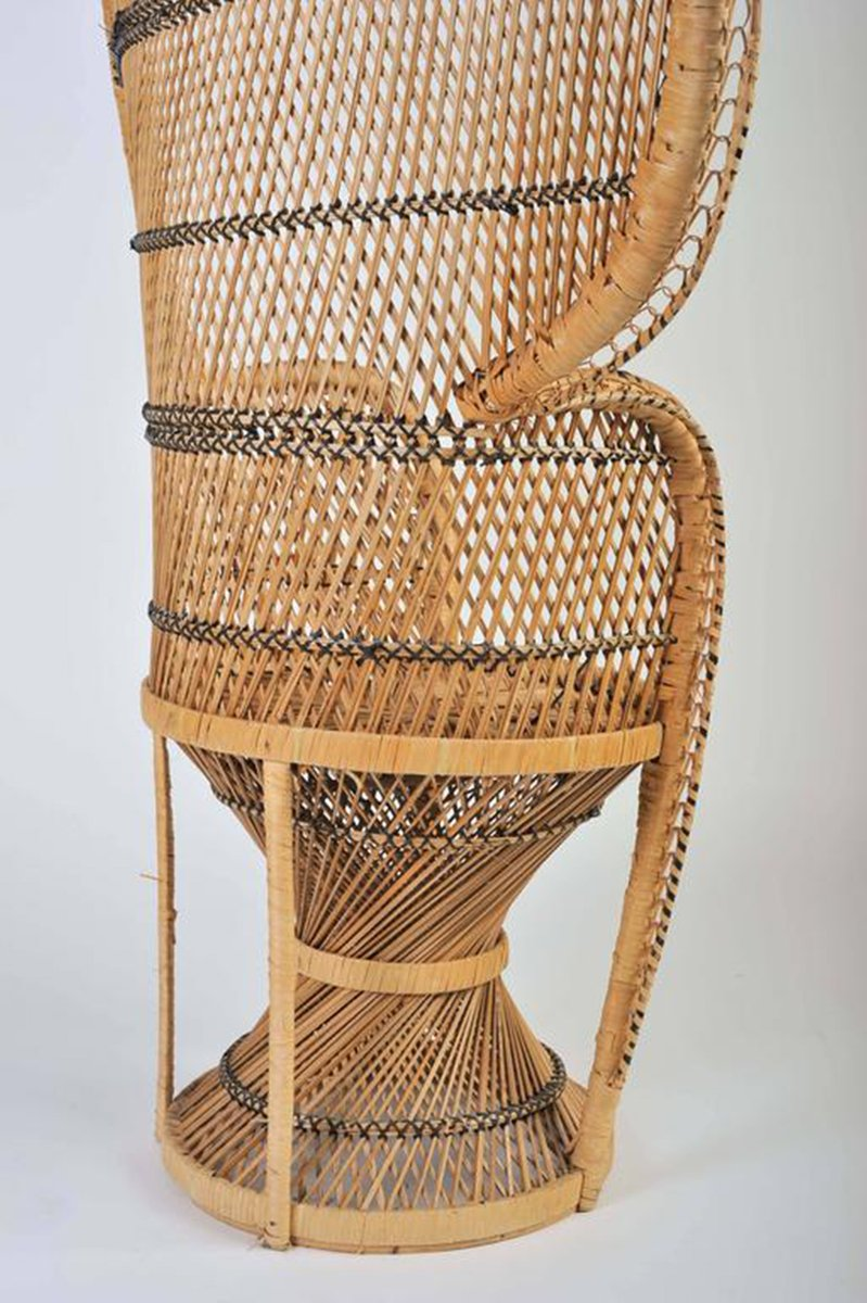 Vintage Bohemian Wicker Peacock Chair 1970s For Sale At