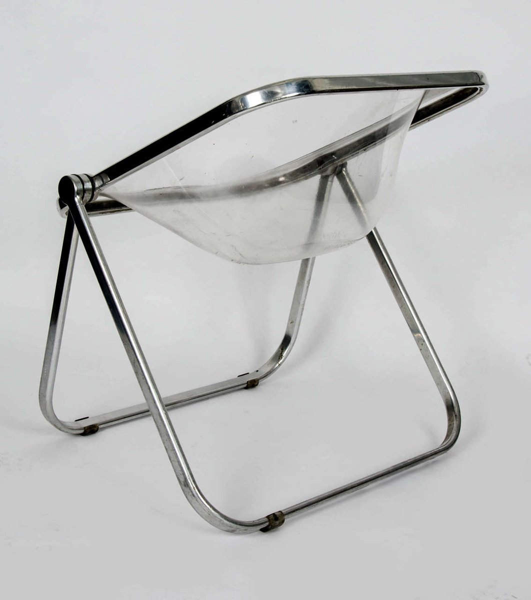 Plia Clear Folding Chair by Giancarlo Piretti 1960s for sale at Pamono