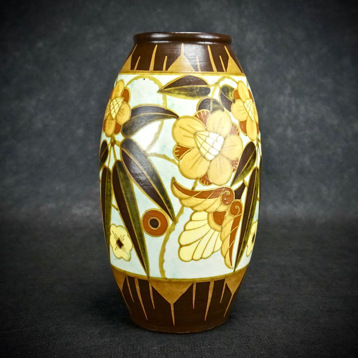 art deco vase by charles catteau for boch freres 1934 for. Black Bedroom Furniture Sets. Home Design Ideas