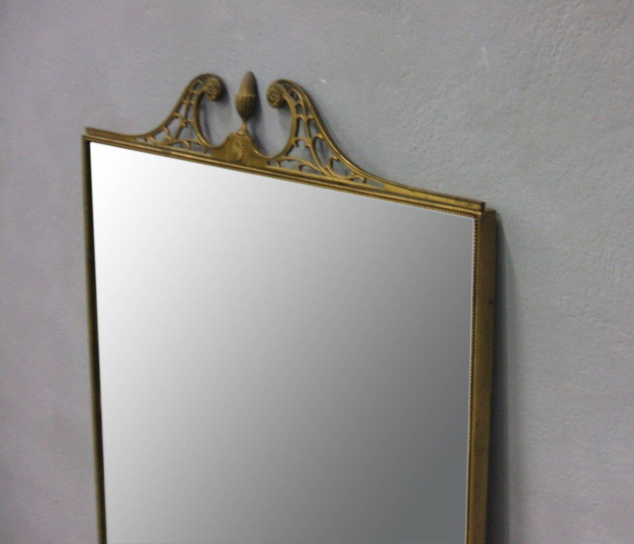 Large italian brass framed wall mirror 1950s for sale at for Big framed mirror
