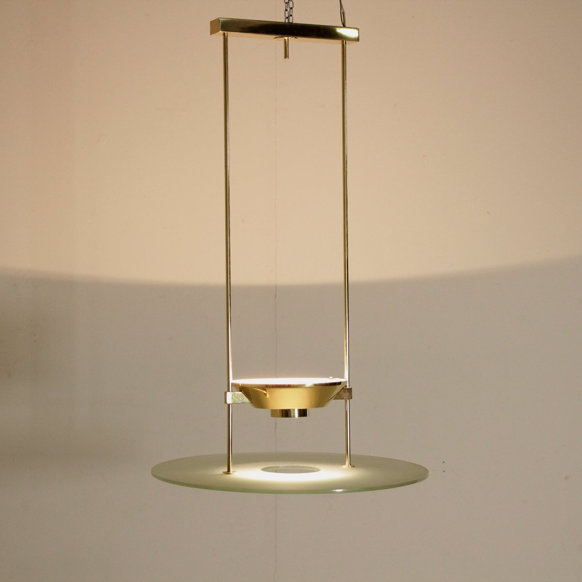 Brass & Glass Ceiling Lamp from Lumi, 1980s for sale at Pamono