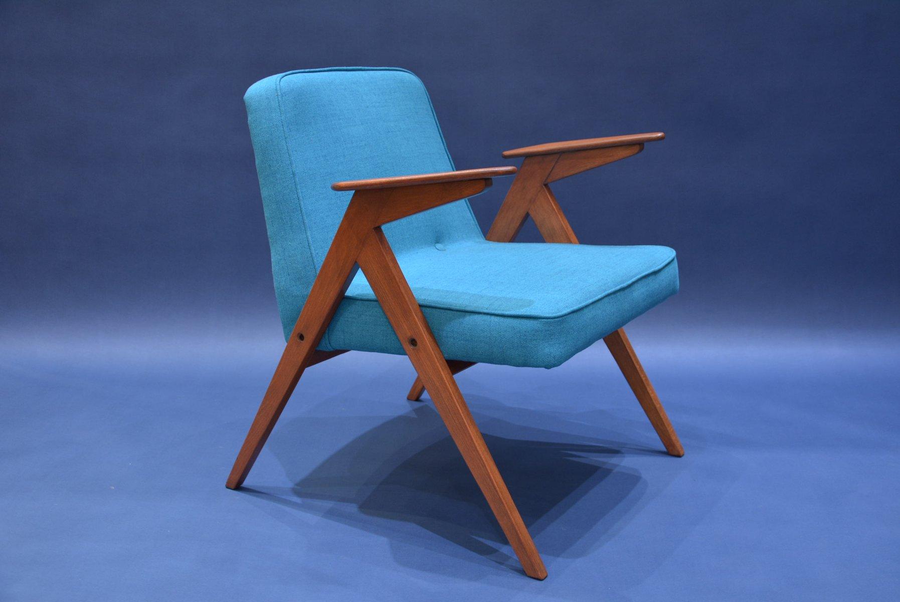 Mid Century Polish Turquoise Bunny Armchair for sale at Pamono
