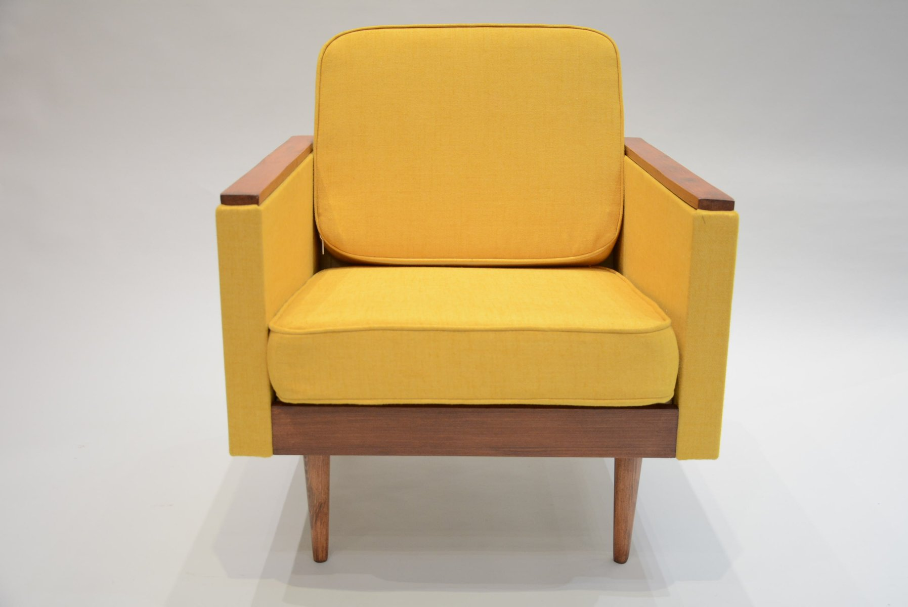 Square Soviet Armchair In Yellow Fabric For Sale At Pamono