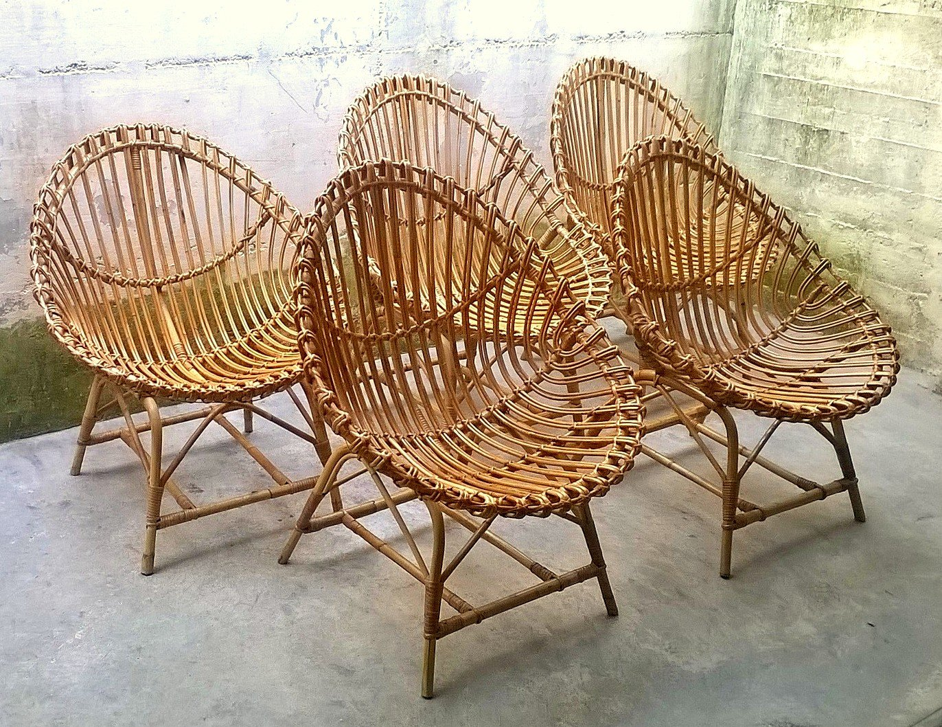 Italian Rattan Egg Shaped Chairs, 1950s, Set Of 5